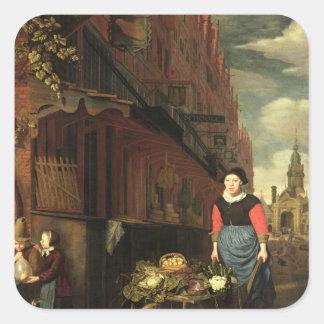 Dutch Genre Scene, 1668 Square Sticker