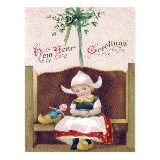 Dutch Girl Doll Mistletoe Clog Pew Postcard
