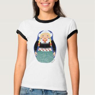 Dutch Girl Matryoshka Ladies Ringer T-Shirt