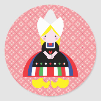 Dutch girl round sticker
