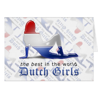 Dutch Girl Silhouette Flag Greeting Card