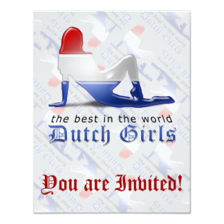 "Dutch Girl Silhouette Flag 4.25"" X 5.5"" Invitation Card"