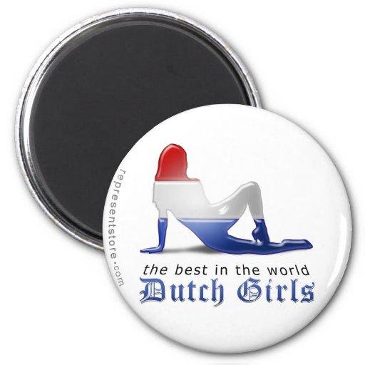 Dutch Girl Silhouette Flag Refrigerator Magnets