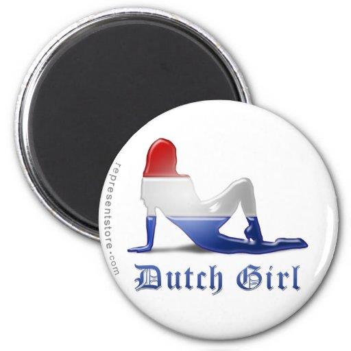 Dutch Girl Silhouette Flag Magnet