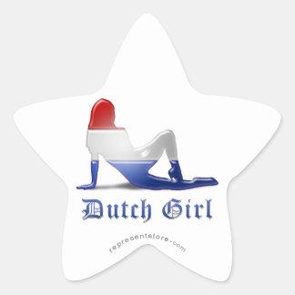 Dutch Girl Silhouette Flag Star Stickers