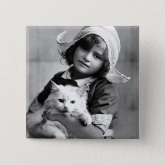 """""""Dutch Girl with Cat"""" Vintage Photograph 15 Cm Square Badge"""