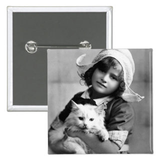 """Dutch Girl with Cat"" Vintage Photograph 15 Cm Square Badge"