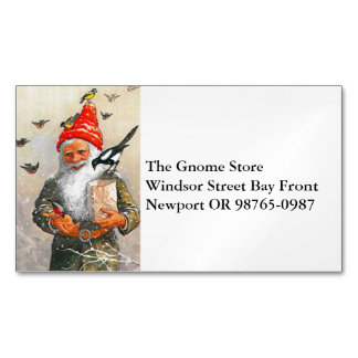 Dutch Gnome Feeding the Birds Magnetic Business Cards