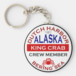Dutch Harbor Alaskan King Crab Crew Member Basic Round Button Key Ring