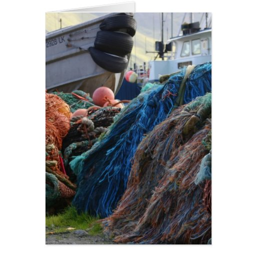 Dutch Harbor Fishing Nets and Boats Greeting Cards