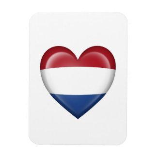 Dutch Heart Flag on White Vinyl Magnet