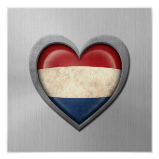 Dutch Heart Flag Stainless Steel Effect Poster