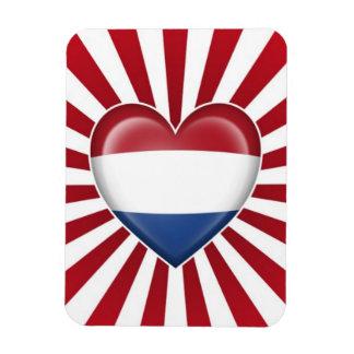 Dutch Heart Flag with Star Burst Flexible Magnets