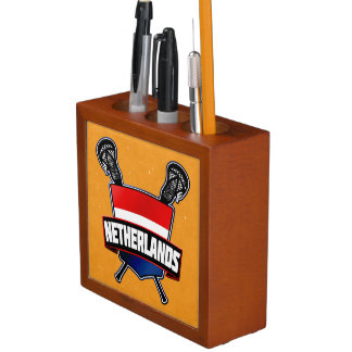 Dutch Holland Flag Lacrosse Logo Pencil Holder