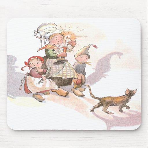 Dutch Kids, Cat and Spooky Shadows Mousepads