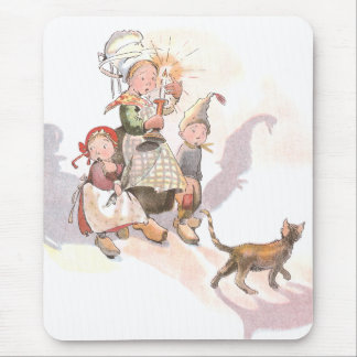 Dutch Kids, Cat and Spooky Shadows Mouse Pad
