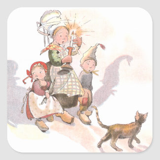 Dutch Kids, Cat and Spooky Shadows Square Stickers