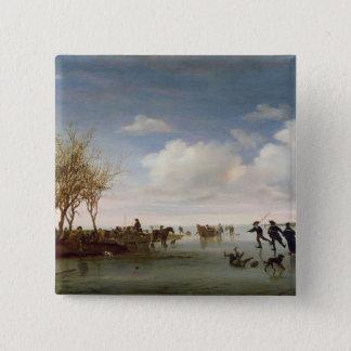 Dutch landscape with Skaters 15 Cm Square Badge
