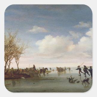 Dutch landscape with Skaters Square Sticker