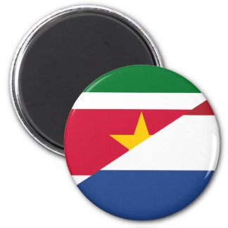 Dutch Language, hybrids flag 6 Cm Round Magnet