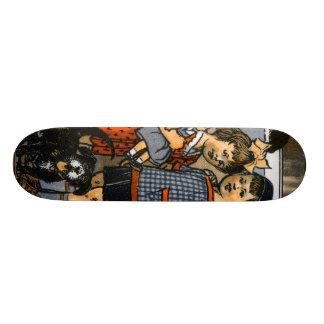 Dutch little boy and girl skate board deck