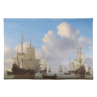 Dutch Men-o -War and Other Shipping in a Calm Place Mats