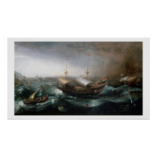 Dutch Merchant Vessels and a Smalschip Accompanied Poster