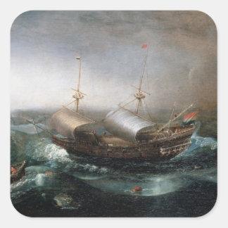 Dutch Merchant Vessels and a Smalschip Accompanied Square Sticker