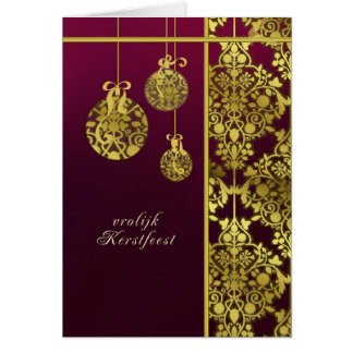 dutch merry christmas card, elegant ornament card