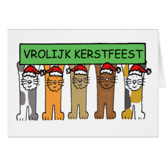 Dutch Merry Christmas cartoon cats. Card