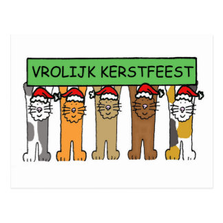 Dutch Merry Christmas cartoon cats. Postcard
