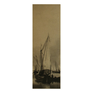 Dutch Painting Boats on Sea Holland Bookmark Double-Sided Mini Business Cards (Pack Of 20)