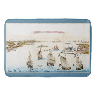 Dutch Panorama Ships Ocean Fleet Bath Mat