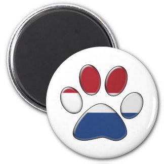 Dutch patriotic cat 6 cm round magnet