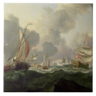 Dutch Pinks and a British Frigate in Choppy Seas Large Square Tile
