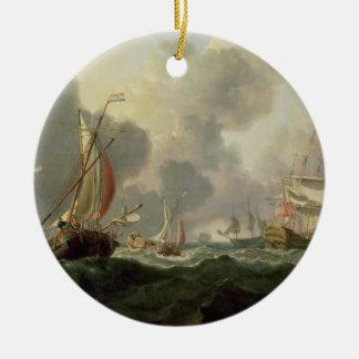 Dutch Pinks and a British Frigate in Choppy Seas Round Ceramic Decoration