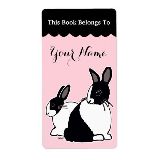 Dutch Rabbits Pink & Black Custom Bookplate Labels