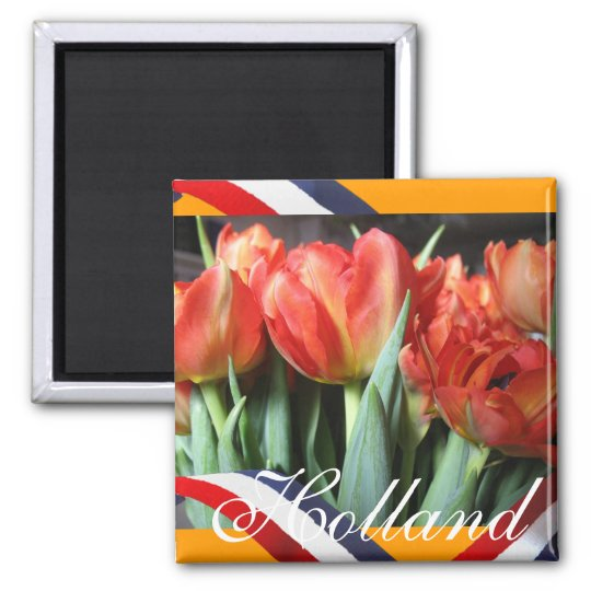 Dutch Red Tulips Orange Fridge Magnet