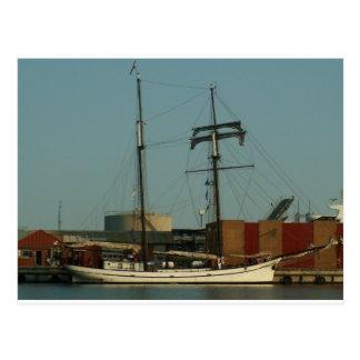 Dutch Schooner In Danish Harbor Postcard