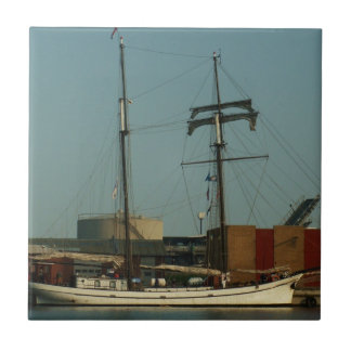 Dutch Schooner In Danish Harbor Small Square Tile