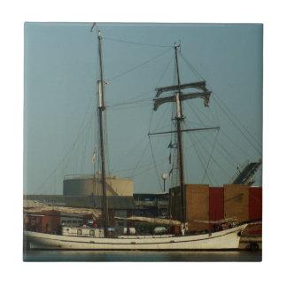 Dutch Schooner In Danish Harbor Tile