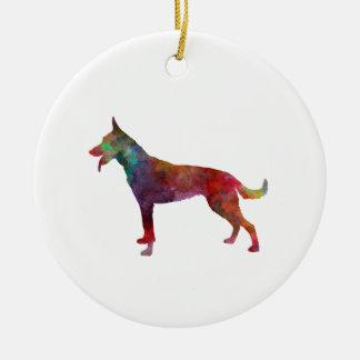 Dutch Shepherd Dog in watercolor Christmas Ornament