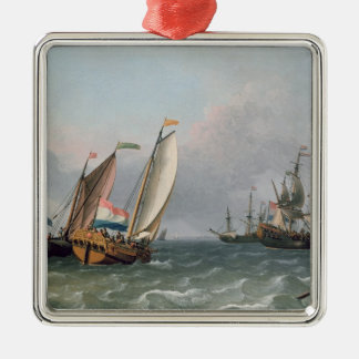 Dutch Shipping in a Choppy Sea Christmas Ornament
