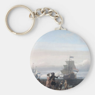 Dutch ships in the roadstead of Texel; in the midd Basic Round Button Key Ring