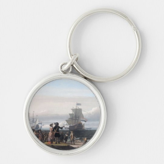 Dutch ships in the roadstead of Texel; in the midd Silver-Colored Round Key Ring