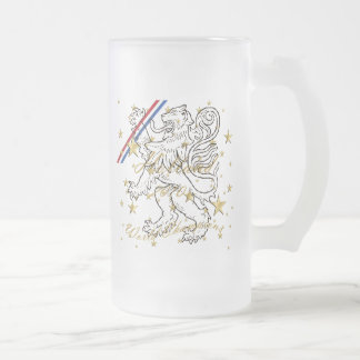 Dutch soccer Holland 2010 World Champions Frosted Glass Beer Mug