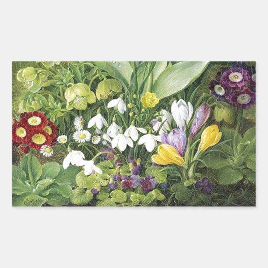 Dutch Spring Flowers Rectangular Sticker