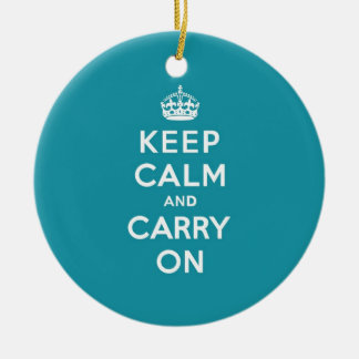Dutch Teal Keep Calm and Carry On Christmas Ornament