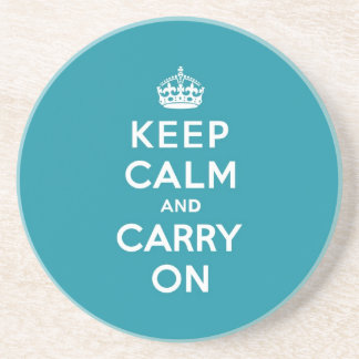 Dutch Teal Keep Calm and Carry On Coasters