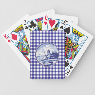 Dutch traditional blue tile bicycle playing cards